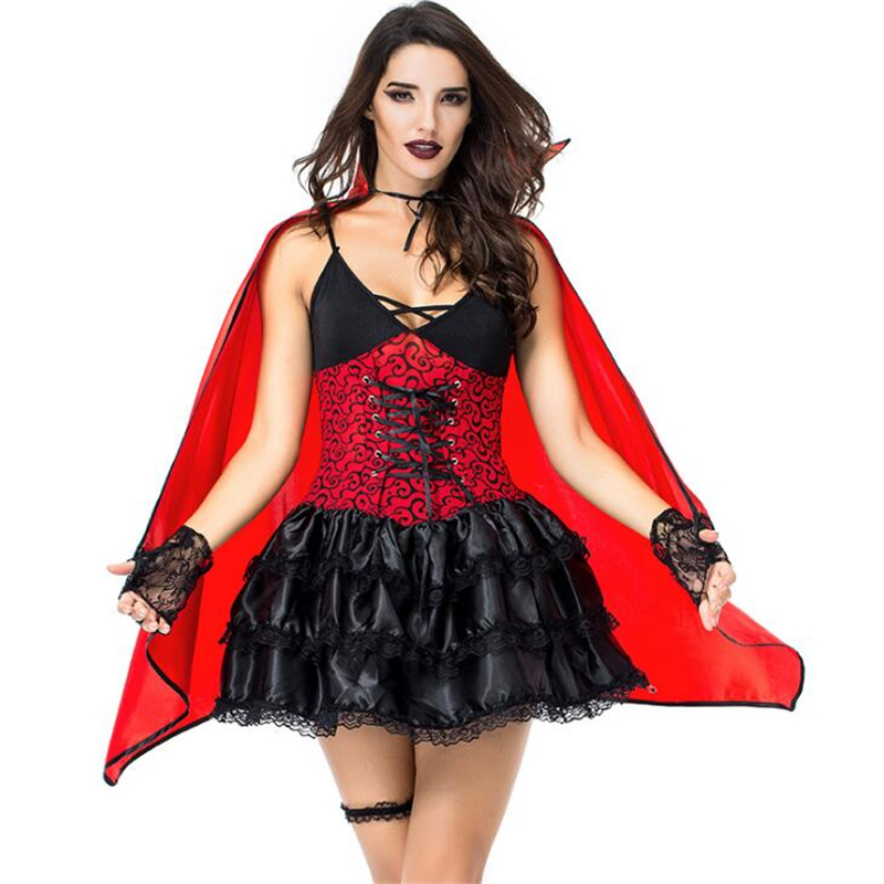 Sexy Women Vampire Bat Costume Halloween Carnival Adult Cosplay Clothing