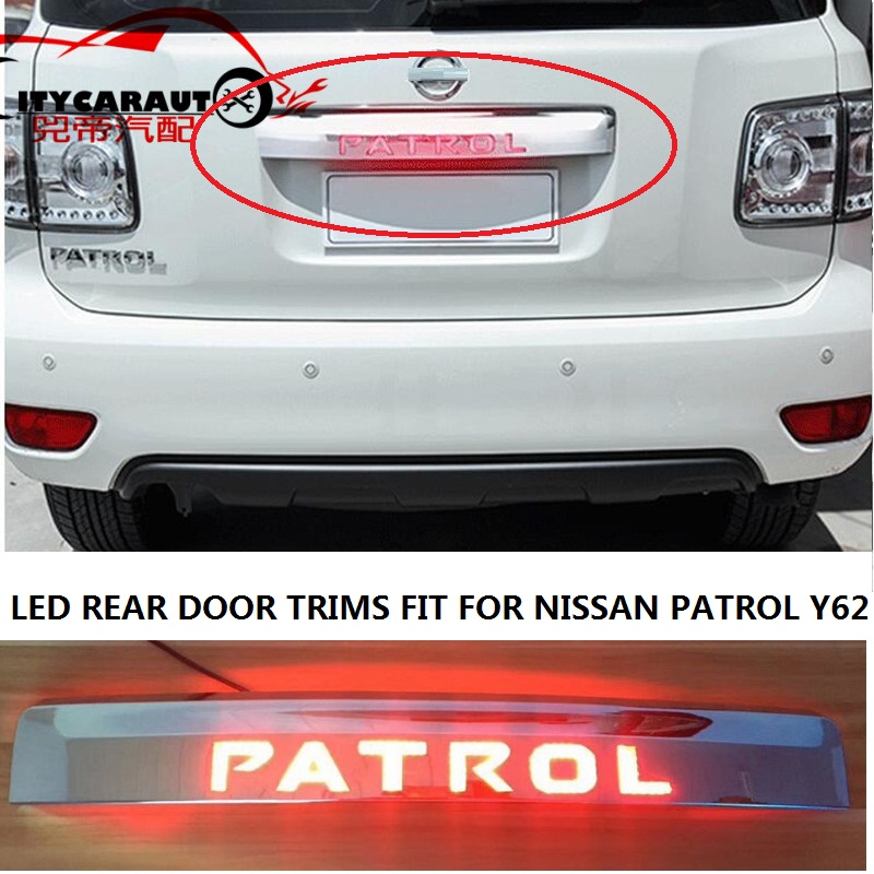 CITYCARAUTO LED TRUNK TRIM COVER REAR TAIL DOOR TRIMS CHROMIUM STYLING FIT FOR NISSAN PATROL Y62 2012-2017 shineka car styling abs dashboard panel copilot decorative strips cover trim for nissan patrol y62 2017
