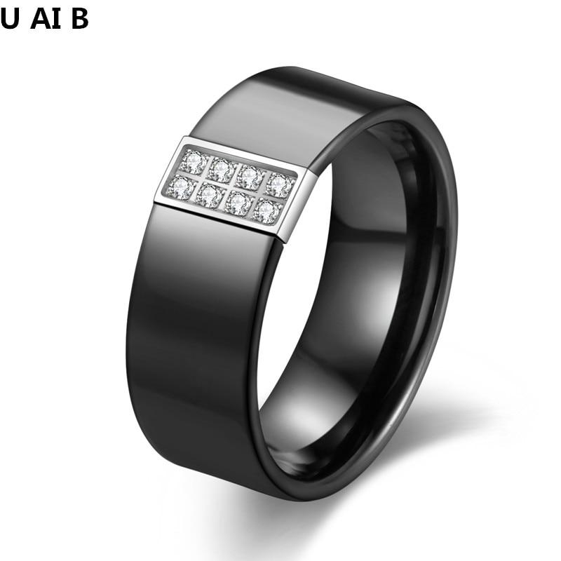 Polished Black And White Ceramic Wedding Ring With Titanium CZ Jewelry Ceramic Finger Rings