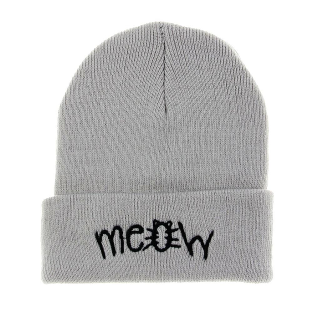 10599002cf3 Factory price Winter Knitting MEOW Beanie Hat And Snapback Men And Women  Hiphop Cap Knitting Wool Material Vicky