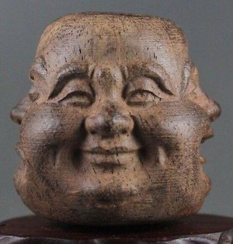 Krásné dřevěné ručně vyřezávané Buddha tvář socha potěšení hněv smutek radosti