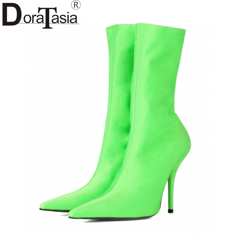 DoraTasia 2017 Plus Size 34-48 Pointed Toe party Women Shoes Woman Sexy Thin High Heels slip on 7 colors ankle boots doratasia denim eourpean style big size 33 43 pointed toe women shoes sexy thin high heel brand design lady pumps party wedding
