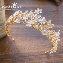 HIMSTORY Luxury Handmade Gold Princess Flower Butterfly Crstyal Hair Crown Fairy Bridal Wedding Hairwear Accessory