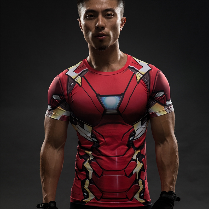 c70aab6a2 Camiseta Homem de ferro Capitão América Guerra Civil Tee 3D impresso Homens  T shirt Vingadores Marvel 3 Manga Curta Roupas de Fitness masculino em  Camisetas ...