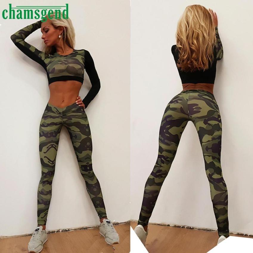 Activing Charming Women Tracksuit Camouflage Stitching Sweatshirt Sets Sport Wear Suit M1X10