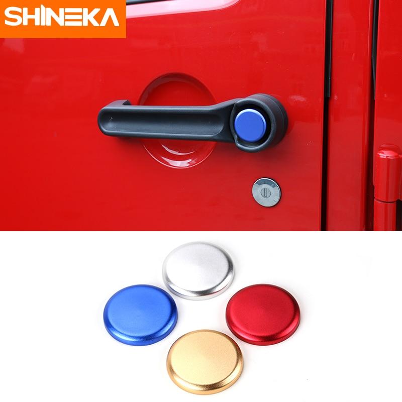 SHINEKA  Aluminium Alloy Colorful Door Handle Button Cover Car Sticker for 2&4 Doors Jeep Wrangler JK 07-16 commercial door closer 65 85kgs silver aluminium alloy for stainless fireproof iron doors