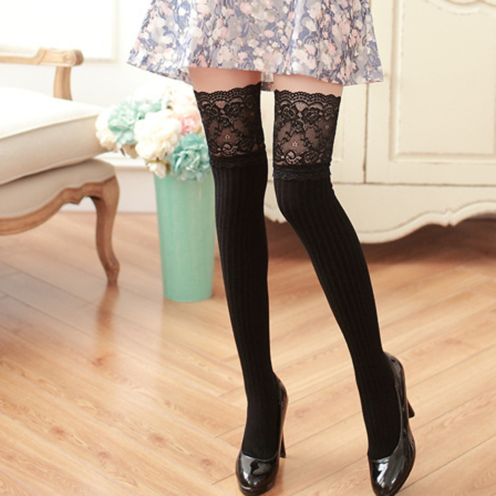 Women Over Knee Socks Cotton Girl Winter Over Knee Leg Warmer Soft Cotton Lace Socks Leggin Women Socks Sexy Casual Kawaii A75