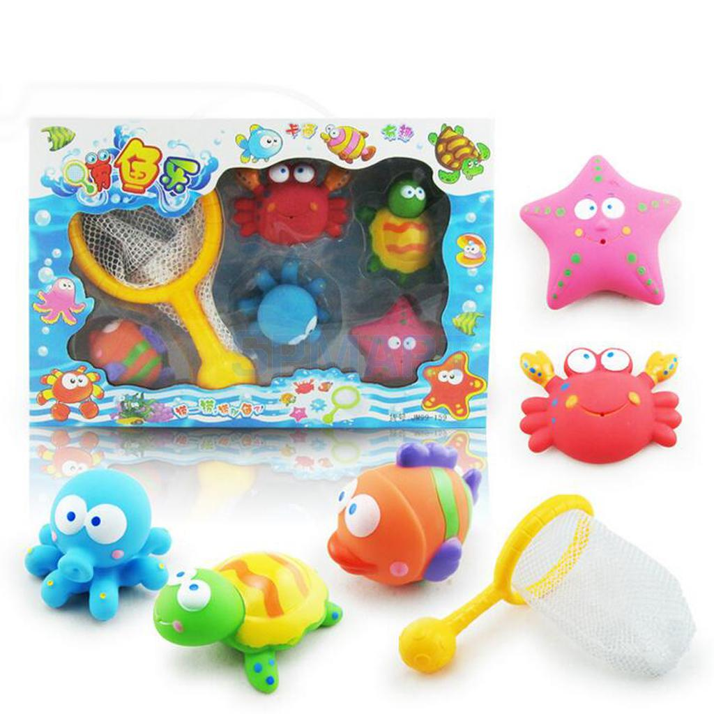 Fishing Bath Game Toy Set Water Squirting for Baby Bathings Floating Mini Marine Animal Model Great Classic Souvenir Pack of 6