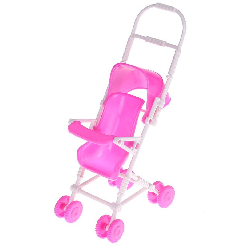 Pink Baby Stroller for Barbie Doll Toy Infant Kids Carriage Stroller Trolley Nursery Toy for Barbie Dolls Furniture Girls Gifts