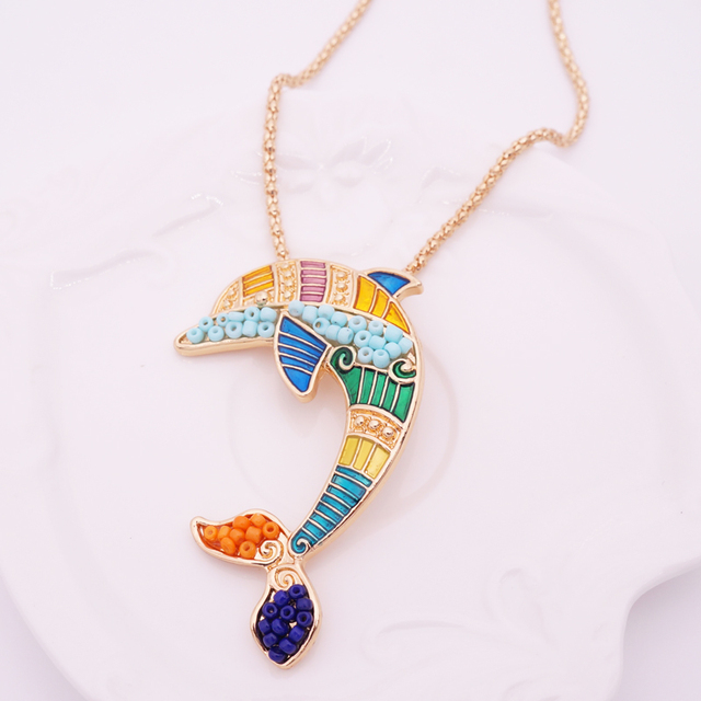 Women's Enamel Dolphin Necklace and Earrings Set 6