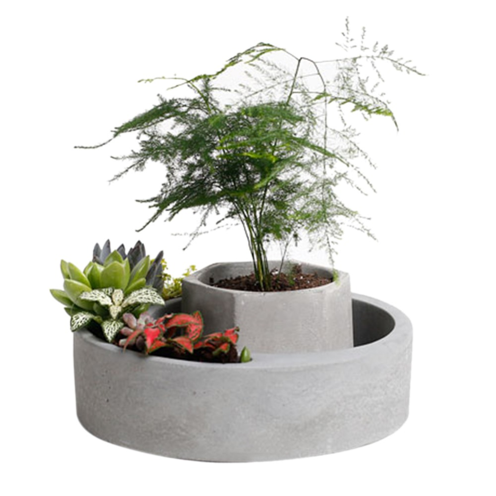 Flowerpot Shaped Cement Molds Home Decoration Concrete Planter Pallet Silicone Mold