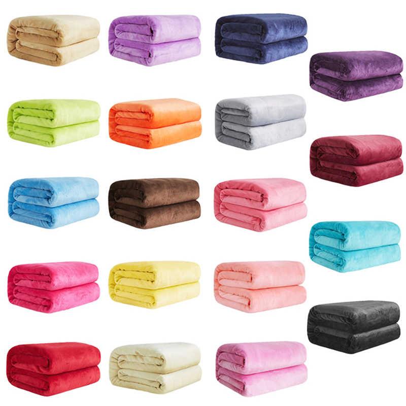 Cobertores de flanela de lã coral quente macio para camas de pele do falso vison lance cobertura de sofá de cor sólida colcha inverno xadrez