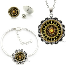 Vintage brown Buddhist Yoga bijoux femme Jewelry set Solar Plexus Chakra Mandala statement necklace bracelet earrings sets HT057