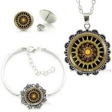 Vintage brown Buddhist Yoga bijoux femme Jewelry set Solar Plexus Chakra Mandala statement necklace bracelet earrings sets HT057