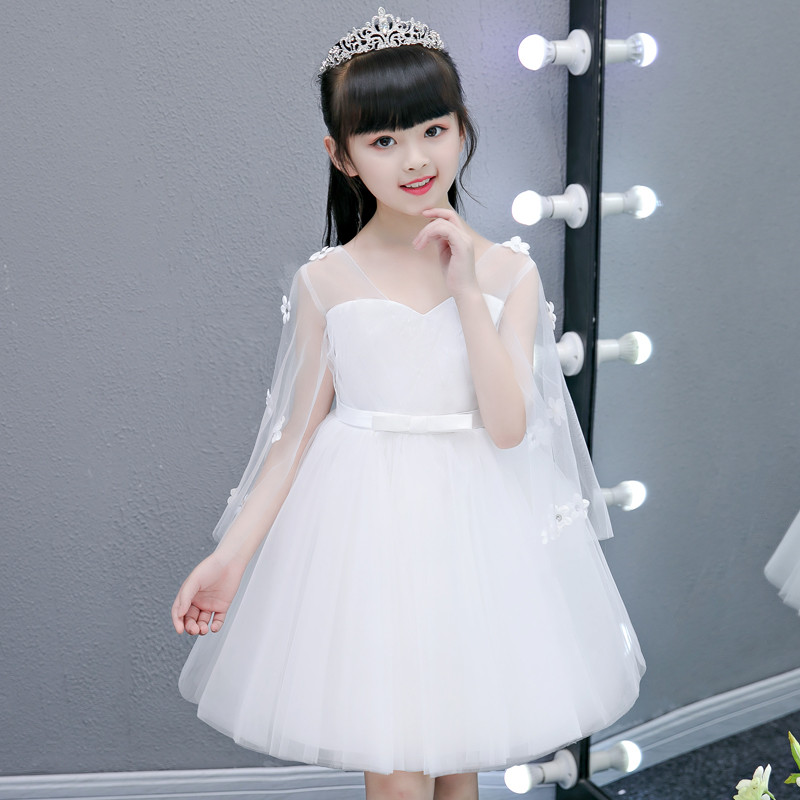 New Summer Pure White Children Dresses For Girls Kids Formal Wear Princess Dress For Baby Girl 3~13Years Birthday Party Dress недорго, оригинальная цена
