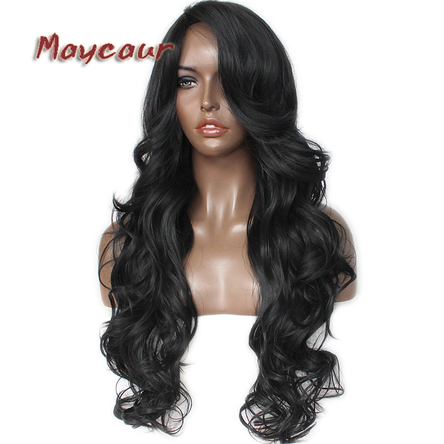 Glueless Black Long Wavy Wig with Side Bangs Synthetic Hair Wigs for Women Heat Resistant Fiber Hair Wigs