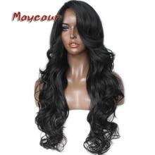 Glueless negro largo ondulado peluca con flequillo lateral pelucas de pelo sintético para mujeres pelucas de pelo de fibra resistente al calor
