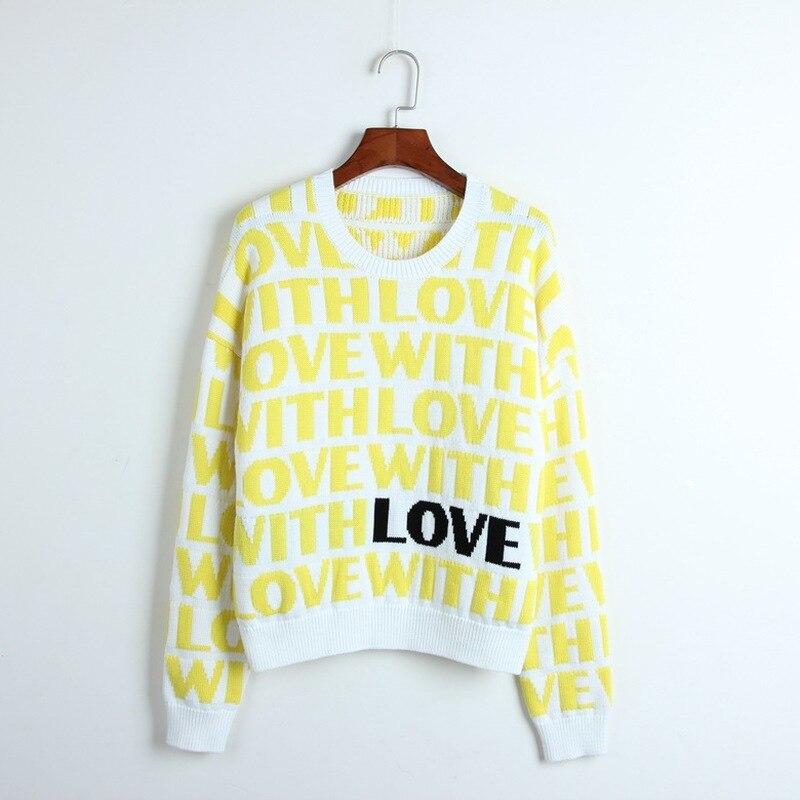 Épais femmes chandail amour lettres motif Jacquard pull femmes tricoté pulls à manches longues hiver Cool piste chandails hauts