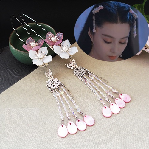 Imported Czech Glaze Petal Pair of Hair Sticks Costume Hanfu Hair Accessory Hair Sticks for Women