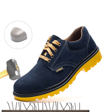 Labor insurance shoes men's breathable anti-smashing anti-piercing wear-resistant rubber outsole suede leather protective shoes