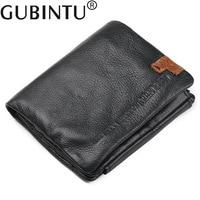 New Wallet Men Genuine Leather GUBINTU Original Brand Male Purse Vintage Small Tri Folds Wallets For