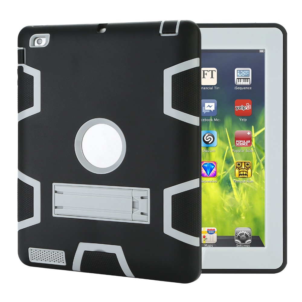 Case for iPad 2/3/4 Shockproof Heavy Duty Protector Case Hit Color Kids Safe Holder 360 degree Full Protection Cover for iPad 4