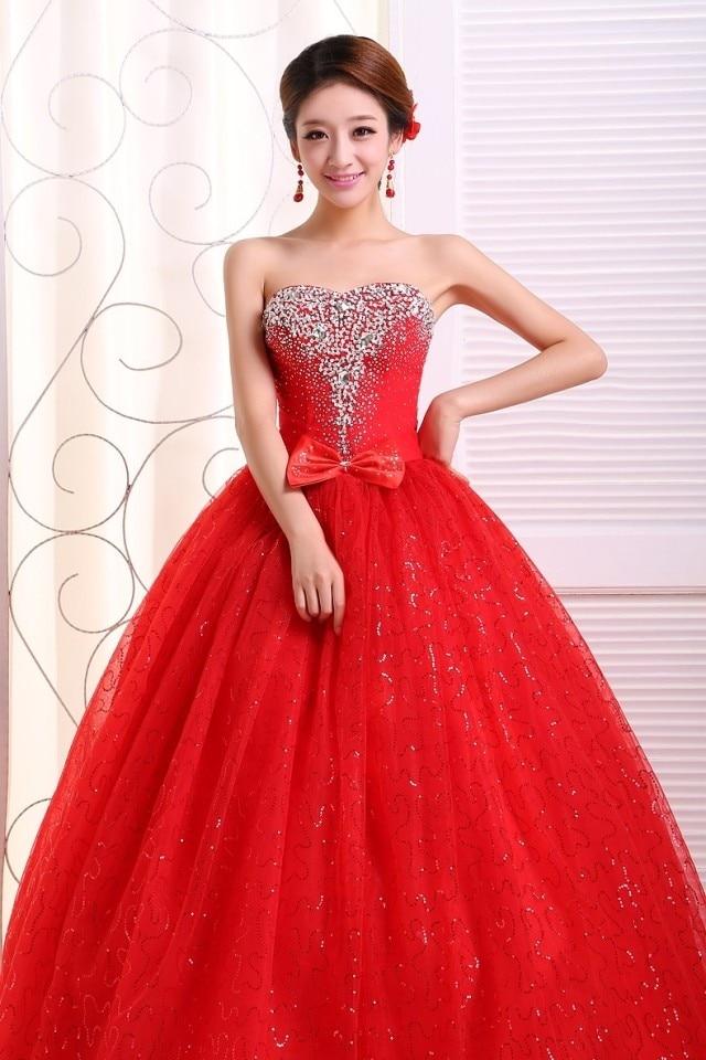 2017 new stock plus size women bridal gown wedding dress sweetheart ball  gown red white bling diamond floor length custom 233-in Wedding Dresses  from ... c5f4794b0f8c
