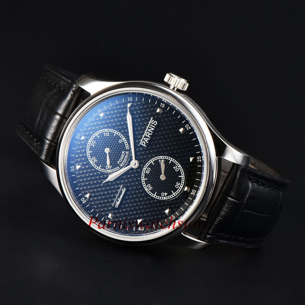 Hot Sale Parnis 43mm Men Watch Power Reserve Watches  Sea Gull 2542 Automatic Movement  Black Dial Silver Stainless Steel Case