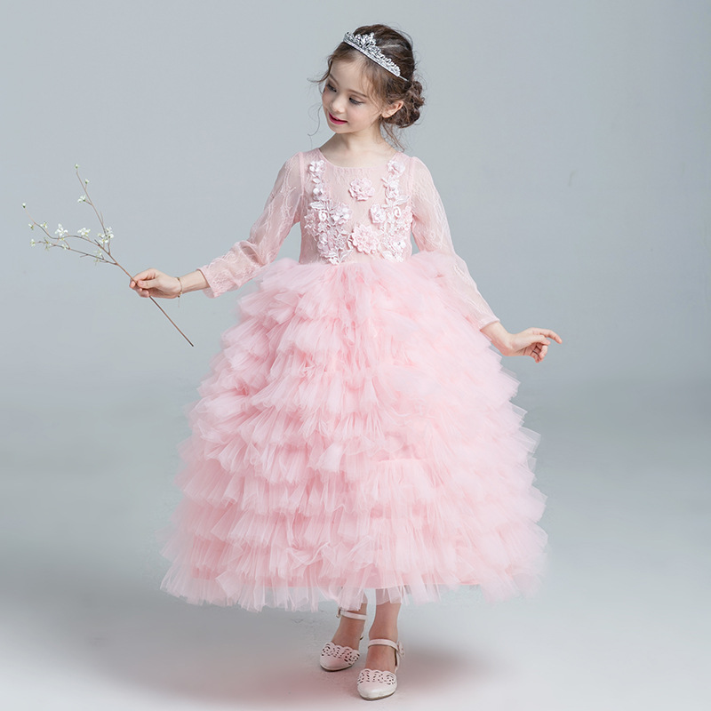 Wedding Dress 2017 Elegant Children High Quality Plus Size Long Sleeve Real Photos Pink Floral Evening Gowns Ball Dresses high quality wedding dress doll 45cm 55cm beautiful elegant pink feather dhl or fedex