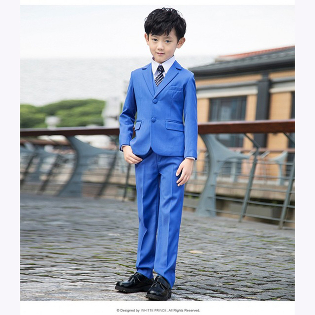 3a94ff053 Tailored Blue Notch Lapel Children wedding suits for boys Blazer With Pants  2017 Two Buttons Kid Prom Formal Party boy Tuxedos