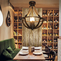 Lang Ge Ma plafond lichten van Amerikaanse retro koffie restaurant bar hennep eenvoudige persoonlijkheid drie hoofd creatieve ijzer lamp ya7312