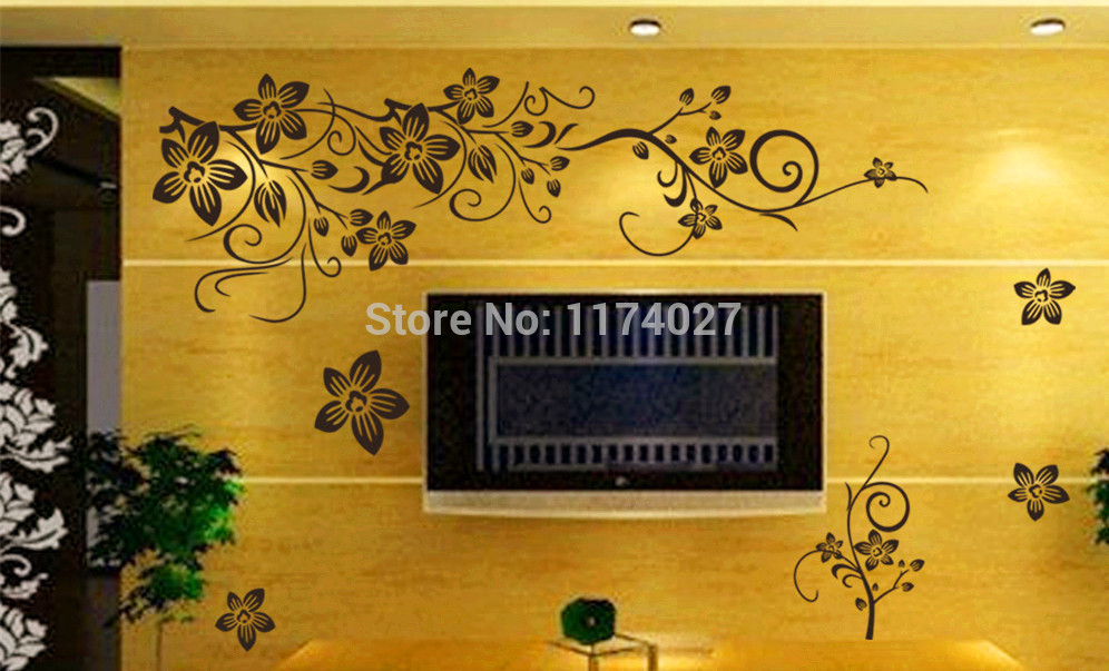 Romantic Flower Wall Sticker Decor Butterfly Wallpaper Art Decals Home decoration Arrivals Free shipping