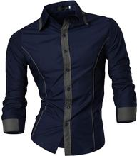 Jeansian Men's Fashion Dress Casual Shirts Button Down Long Sleeve Slim Fit Designer 8015 Navy цена