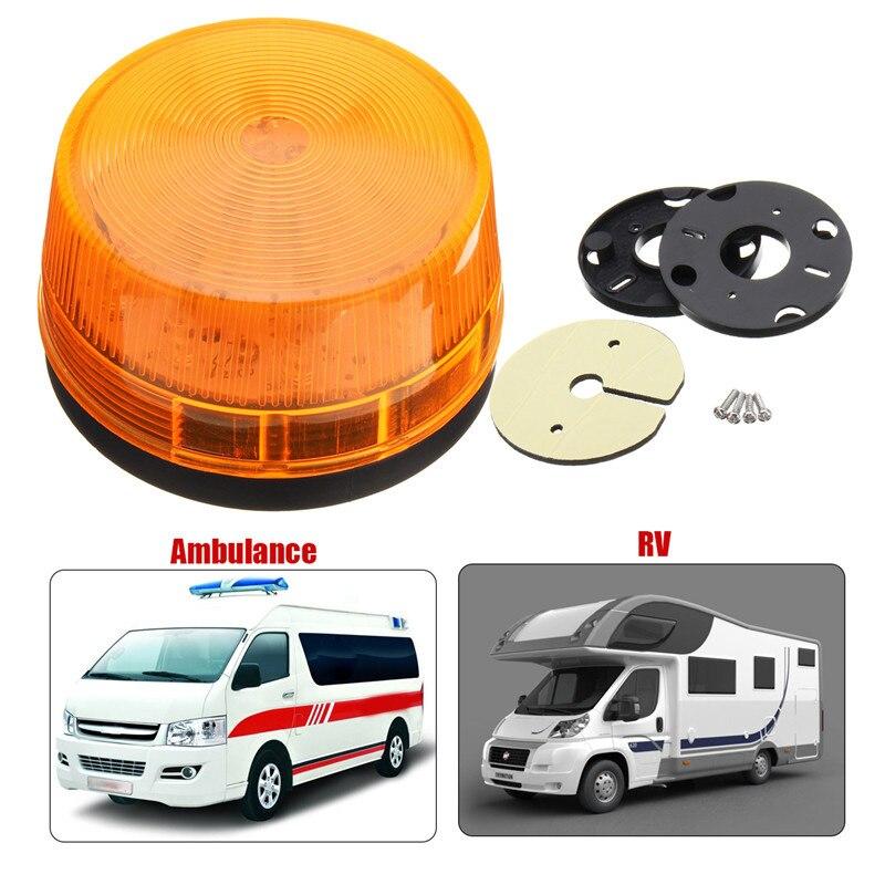 Waterproof 12V 120MA 15LED Emergency Safely Security Alarm Strobe Signal Warning Light Yellow Flash LED Light Lamp Truck Vehicle