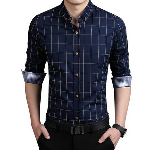 Men casual shirts slim fit M 3XL 100% cotton 2017 mens ...