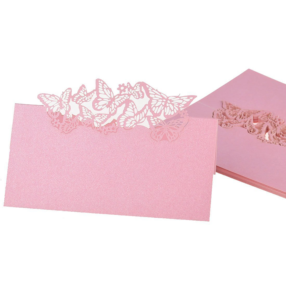 pcs nome da tabela cartes do lugar da festa de casamento favor decor butterfly design de corte a laser rosa para festa de