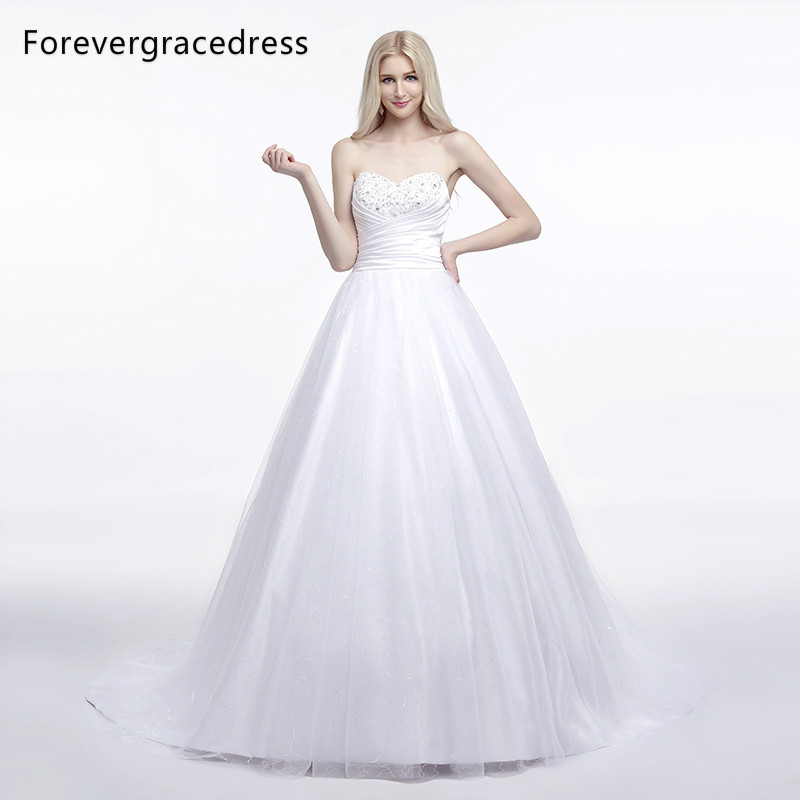 Forevergracedress Elegant A Line Sleeveless font b Wedding b font Dress Sexy Sweetheart Long Lace Up