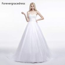 Forevergracedress Elegant A Line Sleeveless Wedding Dress Sexy Sweetheart Long Lace Up Back Bridal Gown Plus Size Custom Made