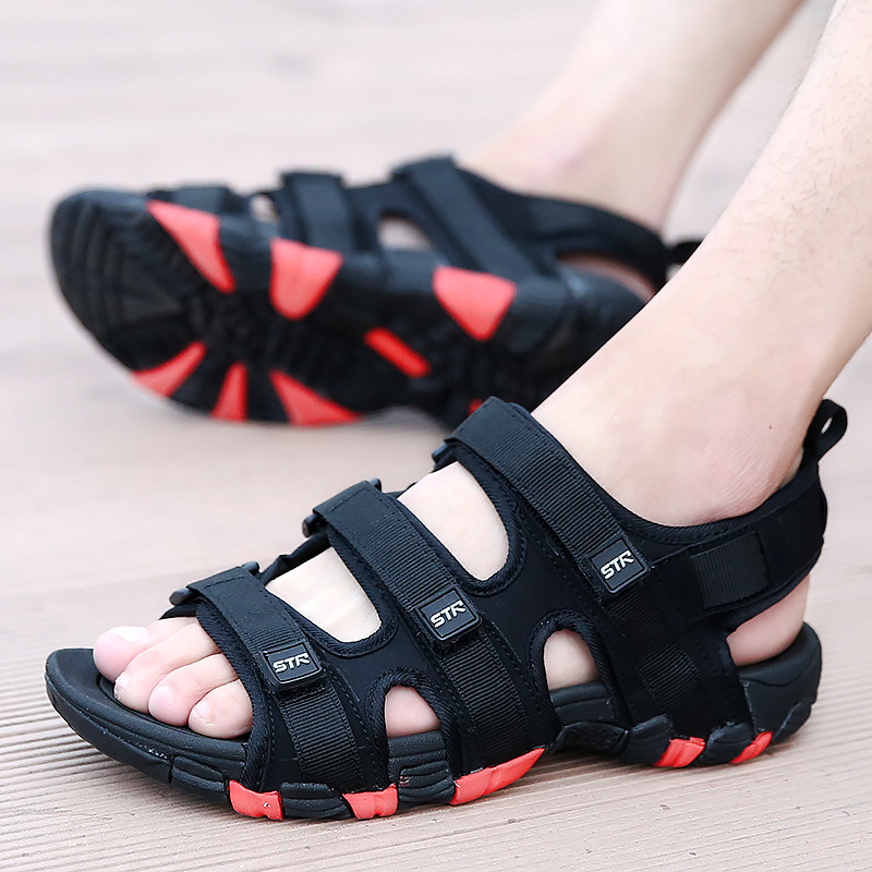 Summer Men Sandals Hook&loop Men's Summer Shoes 2020 Fashion Waterproof Casual Beach Shoes Size:39-44 Black