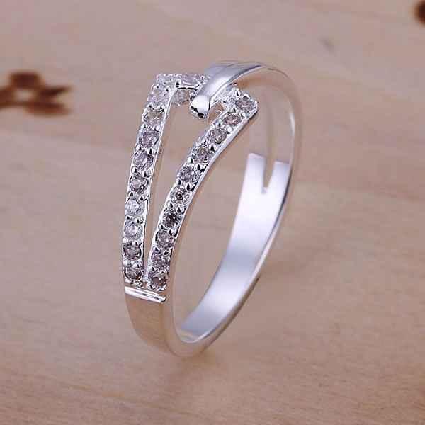 จัดส่งฟรี 925 เครื่องประดับเครื่องประดับแหวนแฟชั่นเงินผู้หญิงแหวนผู้ชายลายนิ้วมือคุณภาพสูง SMTR128