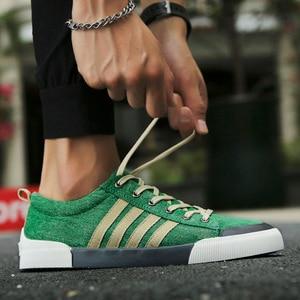 Image 2 - 2018 New Classics Skateboarding Shoes Men luxury shoes men Sneakers Soft Breathable Lace Up green Sport Shoes Men canvas flats