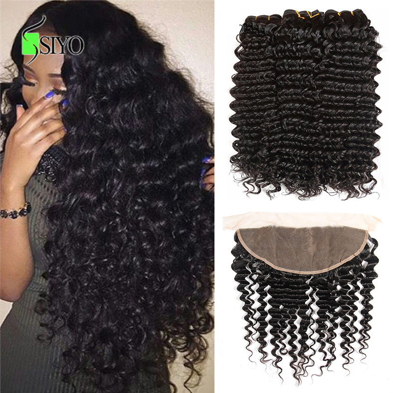 Siyo Deep Curly 3 Bundles With Frontal Remy Human Hair Bundles With 13x4 Lace Frontal Malaysian Deep Wave Bundles With Closure