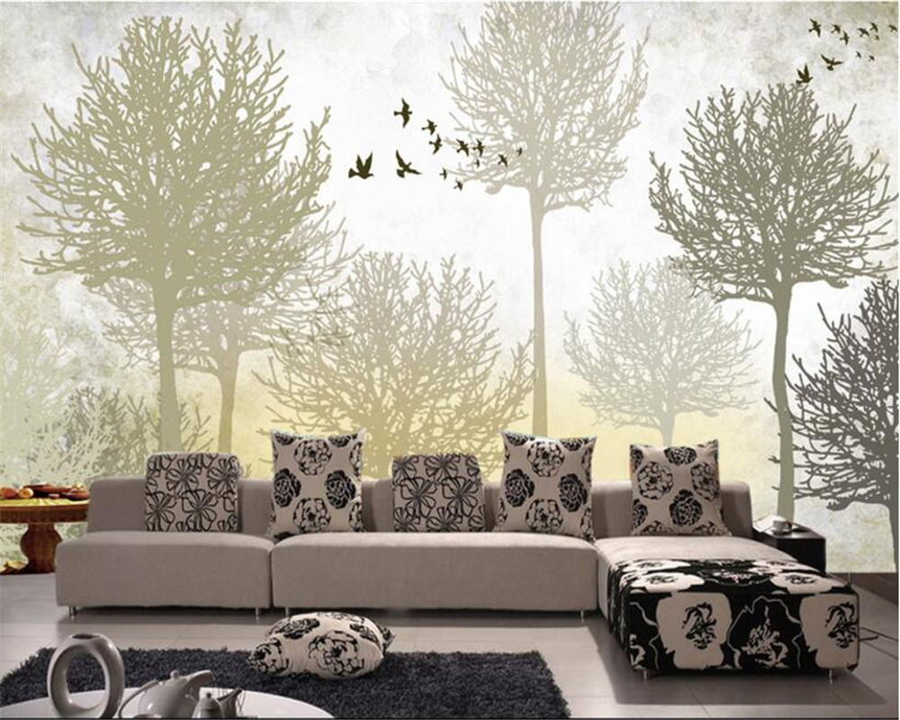 Decoration 3d Murale Us 9 45 37 Off Beibehang Room Living Room Background Decoration 3d Wallpaper 3d Stereo Abstract Woods Bird Photo Wall Mural Wallpaper Tapety In