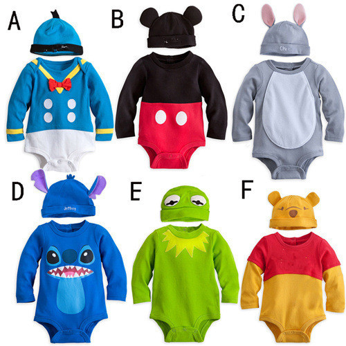 New Arrival Baby Rompers Character Cartoon 6 colours New born infant Baby Clothing Jumpsuits+ hat 2piece per set toddler overall toddler s world colours