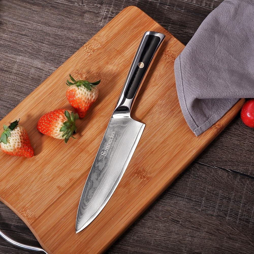 SUNNECKO 2 sztuk noże kuchenne zestaw Chef nóż do parowania japoński VG10 damaszek VG10 stali nierdzewnej ostre ostrze maszynki do golenia G10 uchwyt narzędzia do cięcia w Zestawy noży od Dom i ogród na  Grupa 2
