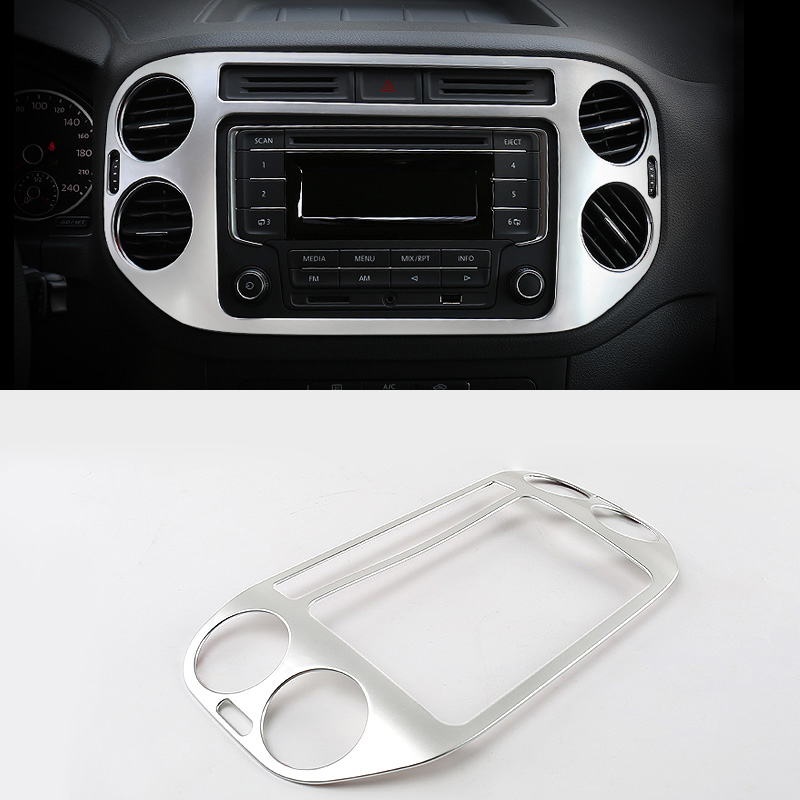 ABS Chrome For Tiguan 2009 to 2015 Car Central Control Air Outlet Panel cover trim auto accessories styling