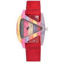 YUELANSHI Womens Hot Wooden Watch Individual Creative Triangle Colored Ordinary Glass Mirror Wood Quartz