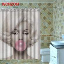 WONZOM 1Pcs Marilyn Monroe Waterproof Shower Curtain Belle Bathroom Decor Decoration Cortina De Bano 2017 Girl Bath Gift