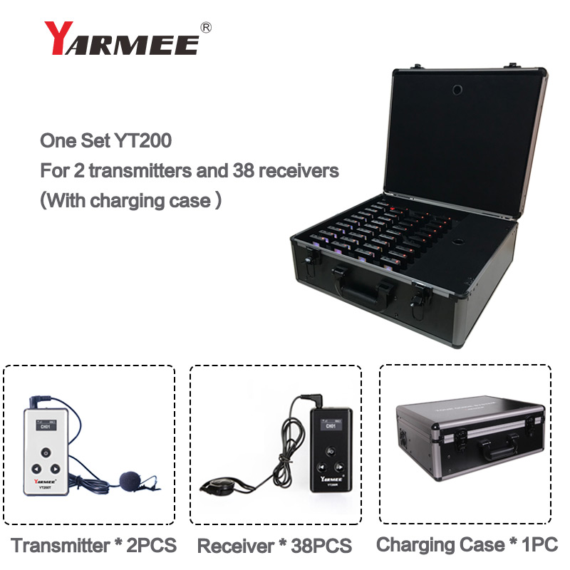 YARMEE New Update Tour Guide System Including 2 Transmitter with Microphone , 38 Receivers with Earphone and Changer Case YT200YARMEE New Update Tour Guide System Including 2 Transmitter with Microphone , 38 Receivers with Earphone and Changer Case YT200