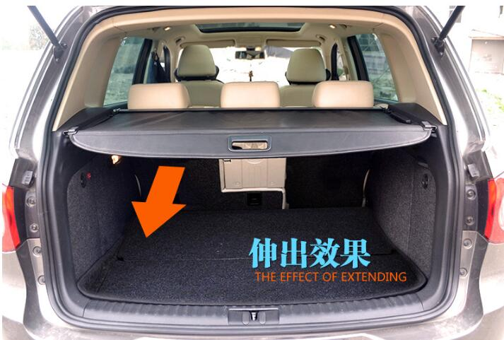 Car Rear Trunk Security Shield Shade Cargo Cover For Volkswagen VW Tiguan 2009 2010 2011 2012 2013 2014 2015 2016 (Black beige) car rear trunk security shield cargo cover for subaru tribeca 2006 07 08 09 10 11 2012 high qualit black beige auto accessories
